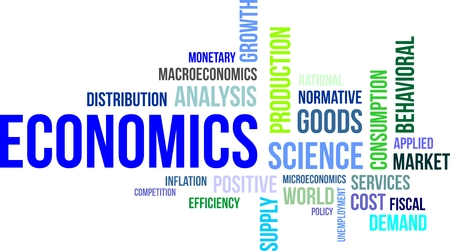behavioral: A word cloud of economics related items Illustration