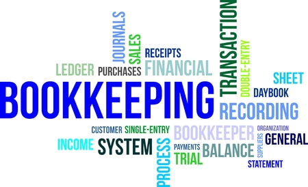 A word cloud of bookkeeping related items