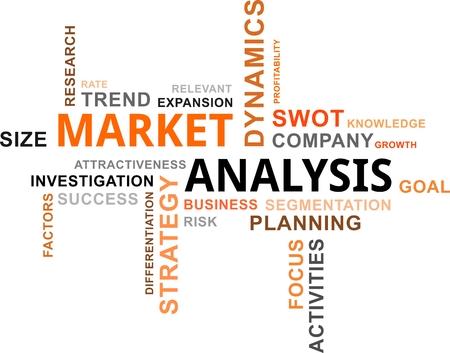 A word cloud of market analysis related items Vektoros illusztráció