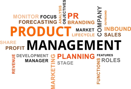 product development: A word cloud of product management related items Illustration