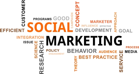 A word cloud of social marketing related items Vector