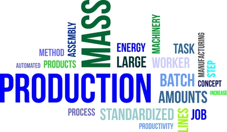 A word cloud of mass production related items Vectores