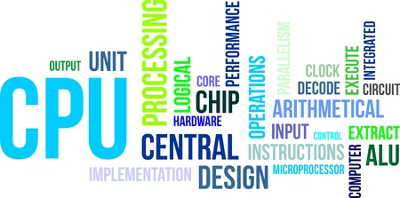 alu: A word cloud of central processing unit related items Illustration