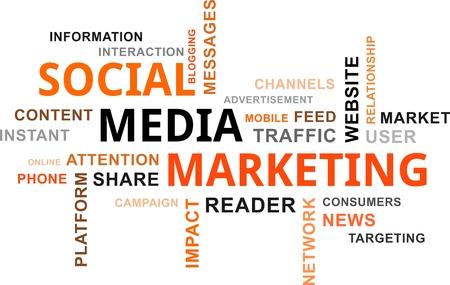 social media marketing: Una nube de palabras de mercadeo art�culos relacionados de los medios sociales Vectores