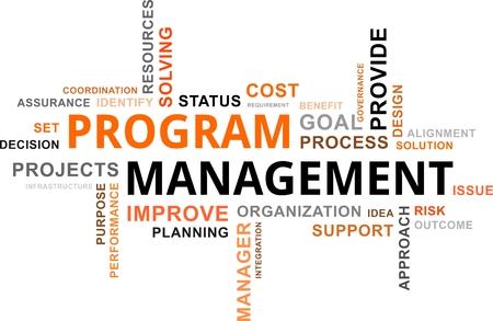 Uma nuvem da palavra de itens relacionados com a gestão do programa Ilustração