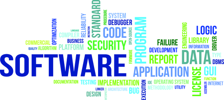 A word cloud of software related items Stock Illustratie