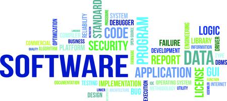 Eine Wortwolke von Software zugehörige Artikel