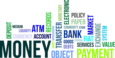 bank records: A word cloud of money related items