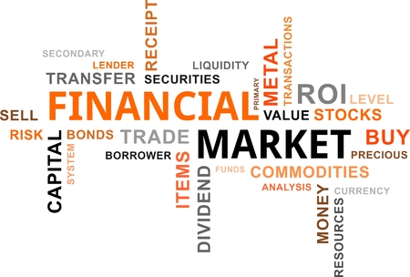 A word cloud of financial market related items Vector