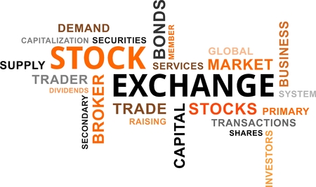 capitalization: A word cloud of stock exchange related items Illustration
