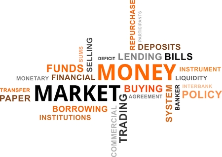 financial institutions: A word cloud of money market related items Illustration