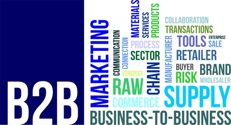 b2b: A word cloud of business to business related items Illustration
