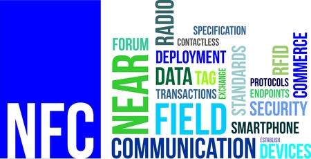 near: A word cloud of near field communication related items Illustration