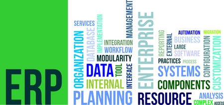 A word cloud of enterprise resource planning related items Vector