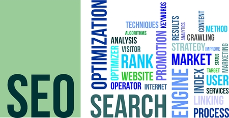 algorithms: A word cloud of search engine optimization related items
