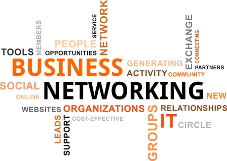 business networking: A word cloud of business networking related items Illustration