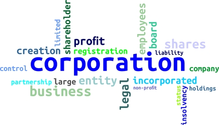 A word cloud of corporation related items Illustration