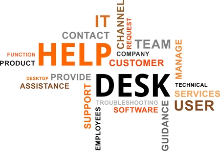 service desk: A word cloud of help desk related items