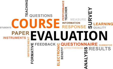 A word cloud of course evaluation related items Vector