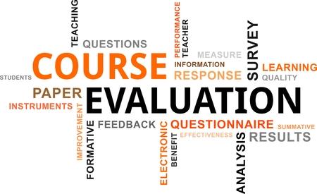 evaluacion: Una nube de palabras de los elementos de evaluación relacionados con el curso