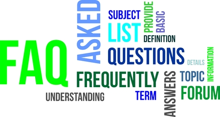 asked: A word cloud of frequently asked questions related items Illustration