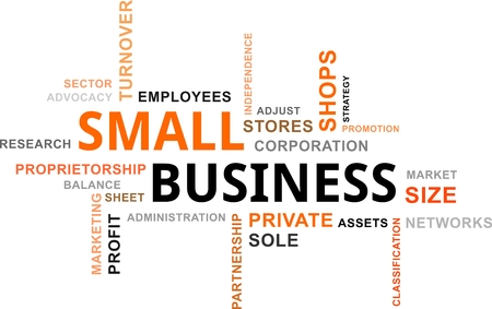 small size: A word cloud of small business related items Illustration