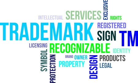 A word cloud of trademark related items