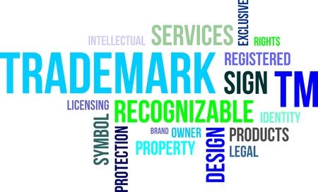 trademark: Una nube de palabras de los art�culos de marca relacionados Vectores