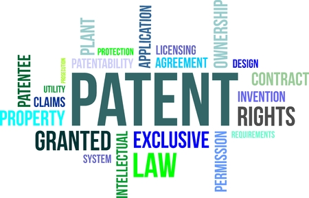 A word cloud of patent related items Illustration