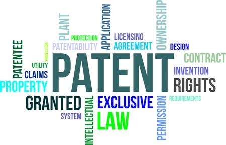 patente: Una nube de palabras de los elementos relacionados con patentes