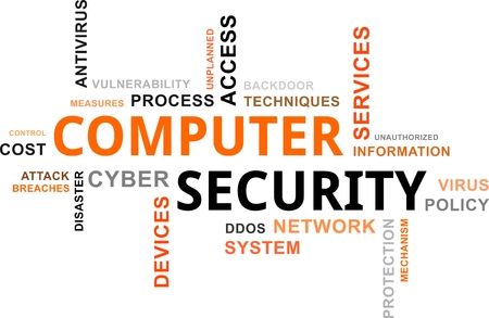A word cloud of computer security related items Vector