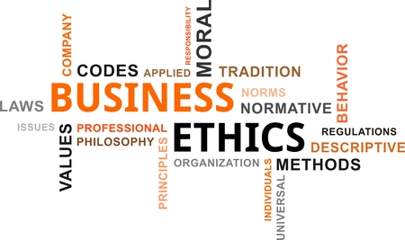 business ethics: A word cloud of business ethics related items