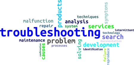A word cloud of troubleshooting related items Vectores