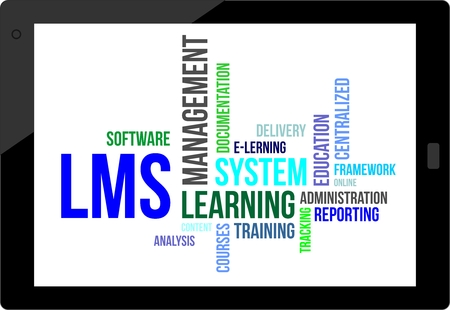A word cloud of learning management system related items Illustration