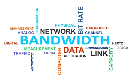 bandwidth: A word cloud of bandwidth related items Illustration
