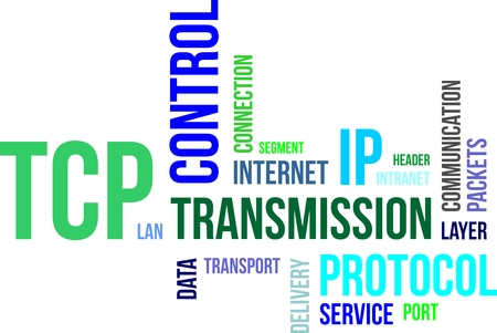 tcp: A word cloud of transmission control protocol related items Illustration