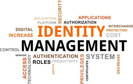 Una parola nube di elementi di gestione delle identità correlati