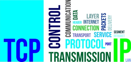 tcp ip: A word cloud of transmission control protocol related items Illustration