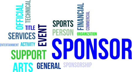 A word cloud of sponsorship related items Illustration