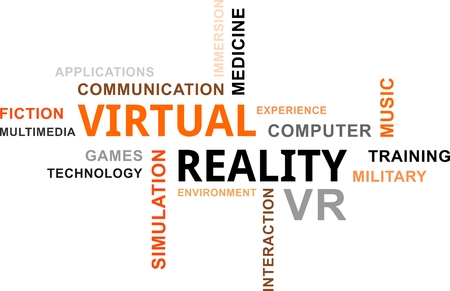 immersion: A word cloud of virtual reality related items Illustration