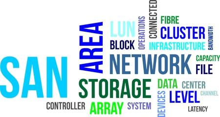 Una parola nube di elementi di storage area network correlati