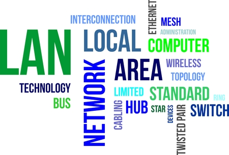 A word cloud of local area network related items Stock Illustratie
