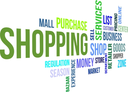 A word cloud of shopping related items