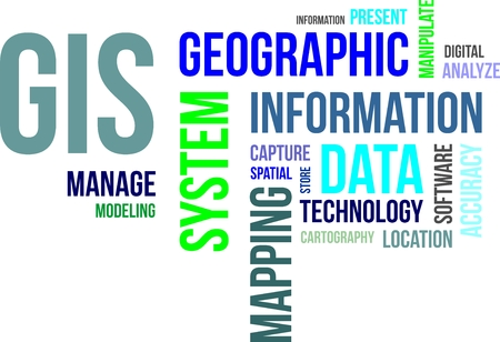 geographic: A word cloud of geographic information system related items Illustration