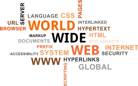 hypertext: A word cloud of world wide web related items Illustration