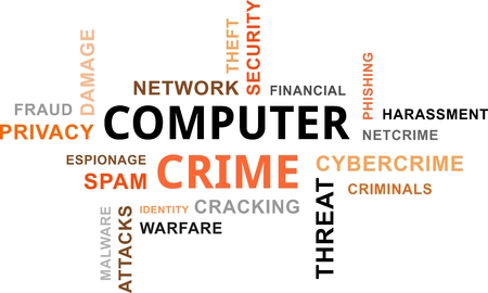 A word cloud of computer crime related items Vector