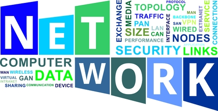 A word cloud of network related items Vector