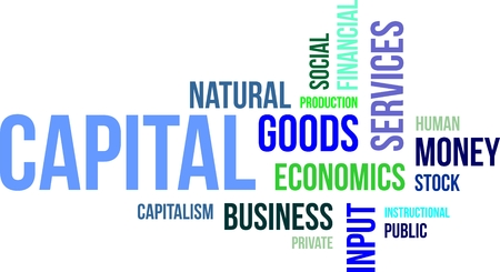 instructional: A word cloud of capital related items