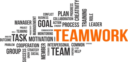 A word cloud of teamwork related items Vectores