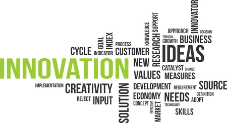 A word cloud of innovation related items Stok Fotoğraf - 33755394
